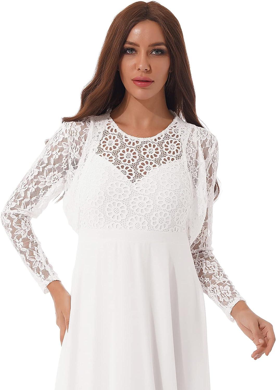 YiZYiF Women's Floral Lace Sheer Cardigan Long Sleeve Open Front Casual Bolero Shrug Top