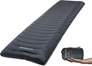 Trekology Inflatable Sleeping Pad, Camping Mat for Sleeping - ALUFT UL80 Compact Lightweight Camp Mats, Ultralight Single Inflating Mattress for Hiking Tent Hammock (Gray)