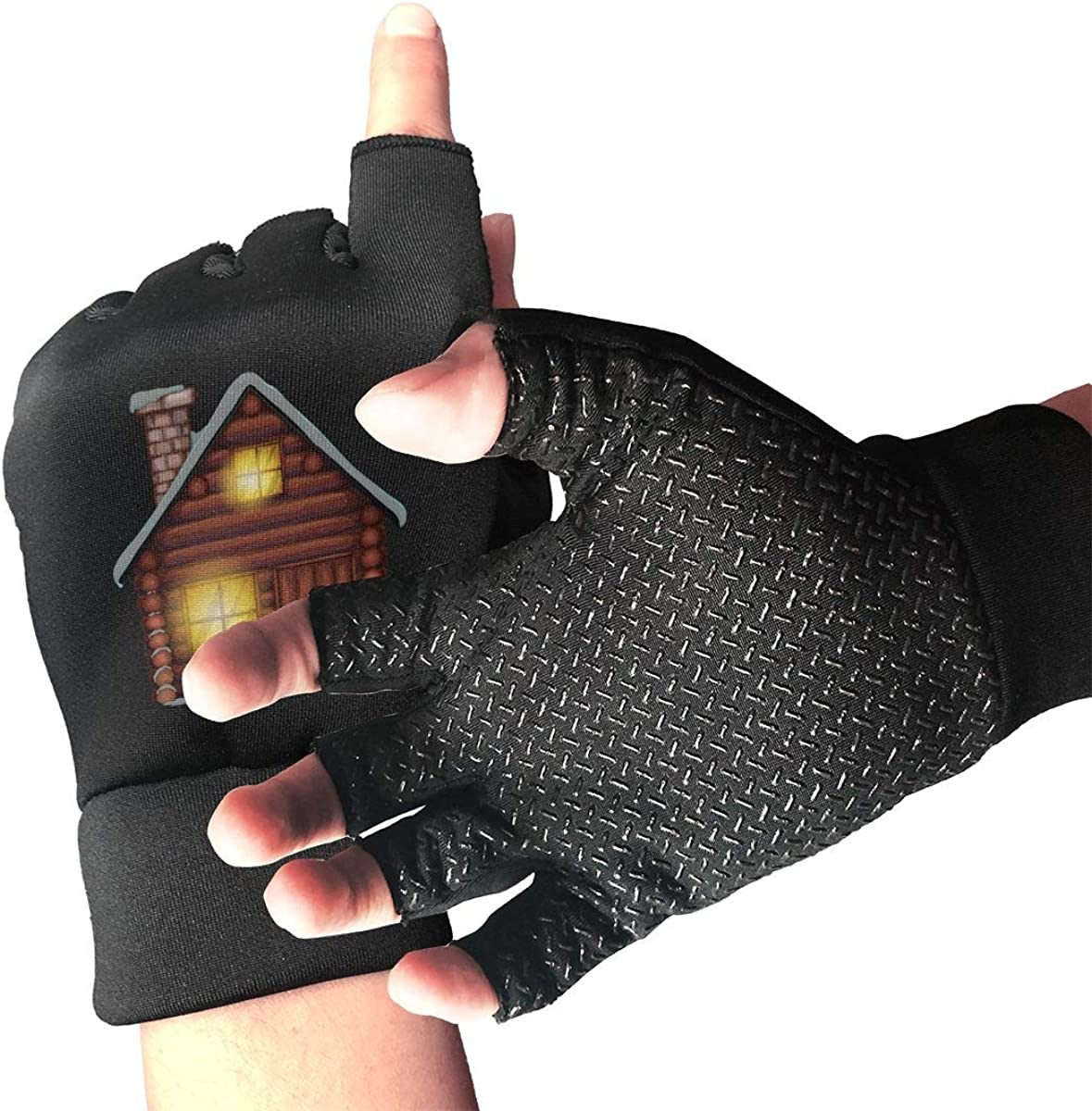 Gloves Merry Christmas House Fingerless Gloves Short Touchscreen Gloves Winter Motorcycle Biker Mitten