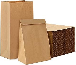 Pochette Kraft,Sac Kraft,Sac Cadeau,Sac Papier,Sachet Alimentaire pour Biscuits(50 pièces,18x11x30cm)