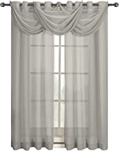 Abri Gray Waterfall Grommet Crushed Sheer Valance, 24x24 inches, by Royal Hotel