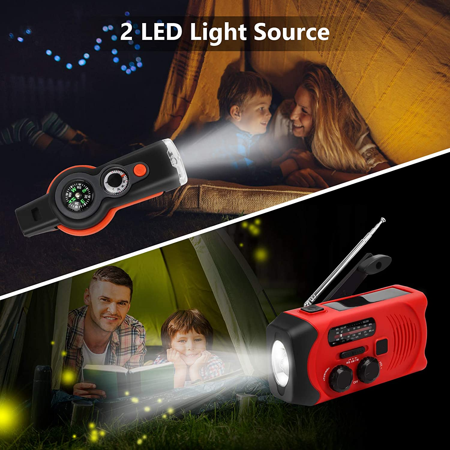 LED Flashlight 7 in 1 Emergency Whistle with Compass and Thermometer USB Charger and SOS Alarm Emergency Weather Radio Maxuni Solar Hand Crank Portable NOAA Weather Radio with AM//FM Orange