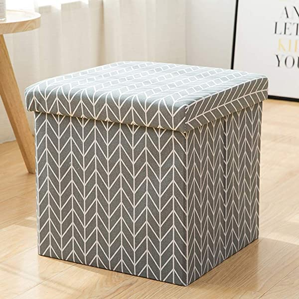 Paddia Foot Stool Rest Ottoman Cube Storage Boxes Salon Stools Chair For Living Room Bedroom Vintage Dressing Table Large Seat Folding Foldable Footstool With Practical Box Linen Removable Lid Pouffe