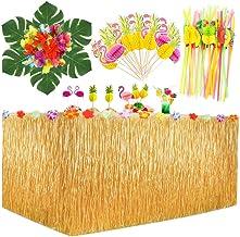 MMTX Hawaiian Luau Tischrock, 9.6 ft Hibiskus Gras Rock Tropische Party Dekor mit Hawaiianische Blüten, Kuchendeckel und 3D Fruchtstrohhalme für Sommer Tiki Party Tischdekorati