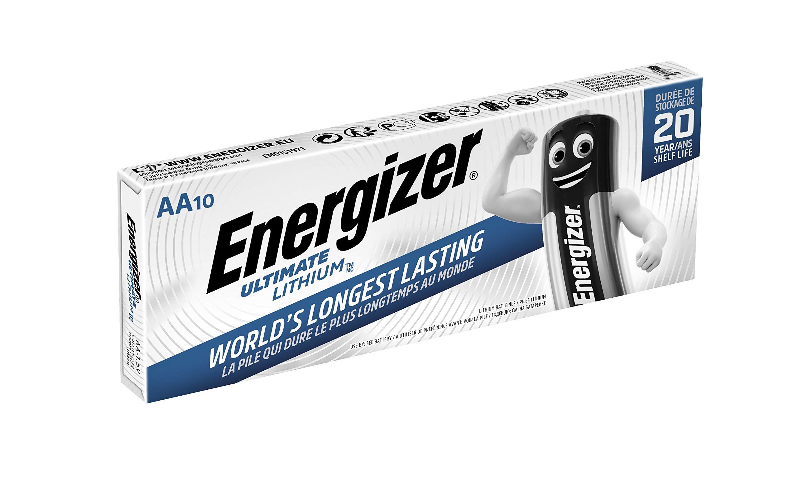 Energizer - Pack de 10 Pilas de Litio Ultimate Lithium AA, 3000 ...