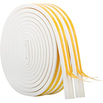 Weather Stripping for Door,Insulation Weatherproof Doors and Windows Soundproofing Seal Strip,Collision Avoidance Rubber Self-Adhesive Weatherstrip,2 Rolls,Total 33Feet Long (White)