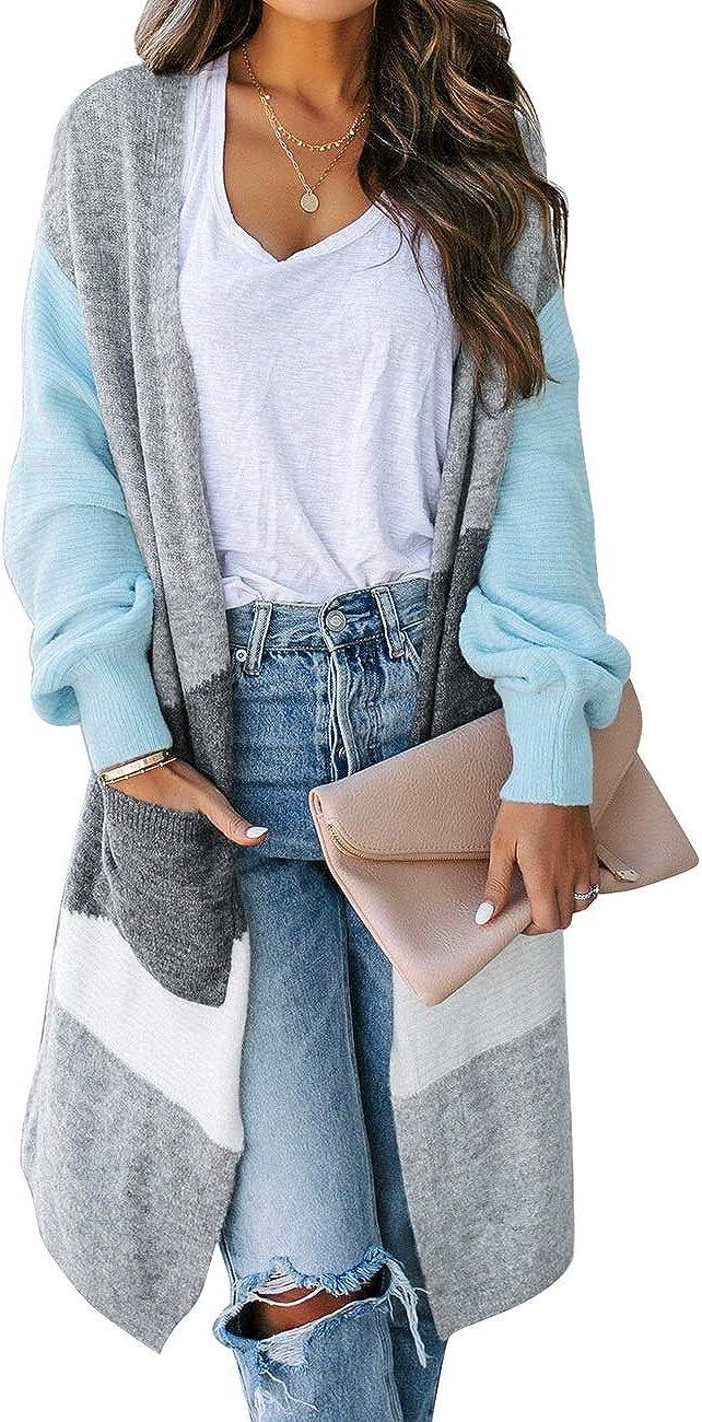 Vetinee Women's Open Front Sweater Cardigan Long Sleeve Soft Knit Pockets Outwear