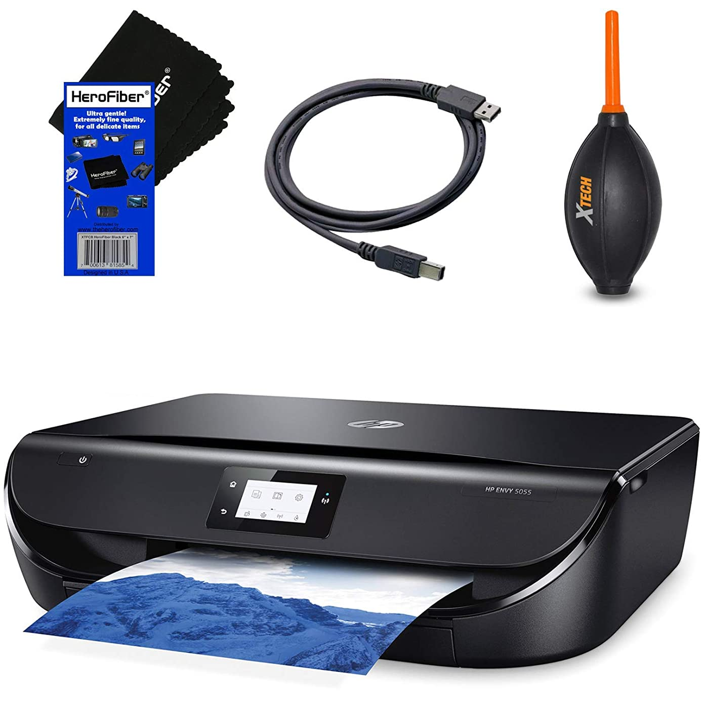 HeroFiber HP All-in-One Wireless Bluetooth Photo Printer Envy 5055 with Scanner Copier, Mobile/Document Printing + Ink Cartridges & Optional Instant Ink Subscription + USB Cable, Blower & HeroFiber