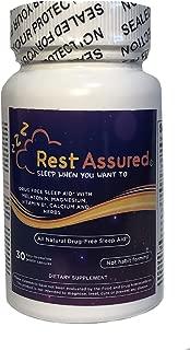 Rest Assured All Natural Sleep Aid 30 Count Capsules with Melatonin, Magnesium, Calcium & Vitamin B1 Plus Chamomile Herbal Blend