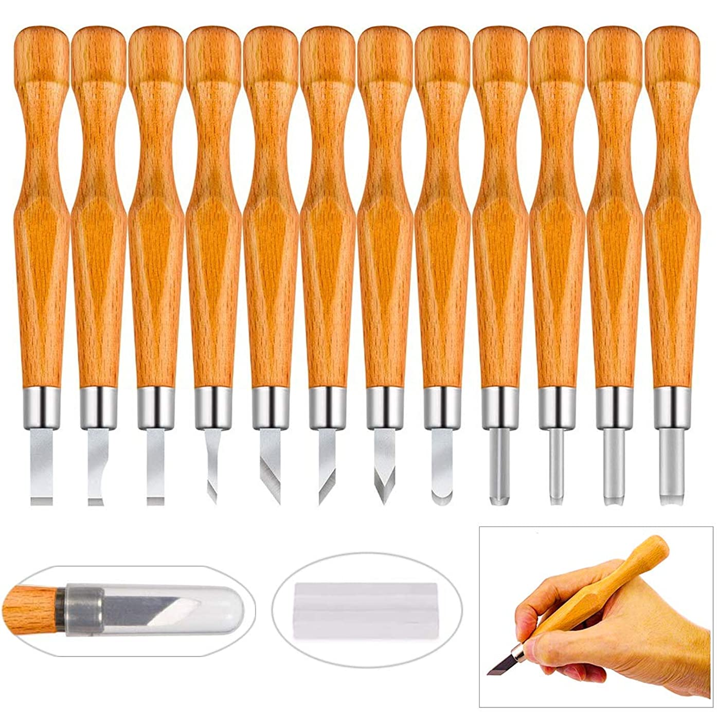 PRUGNA Hardwood Carving Tools Kit, AISI-07 Carbon Steel Graver Set for Beginners & Professionals, 12 Pcs Engraving Knife with Storage Case