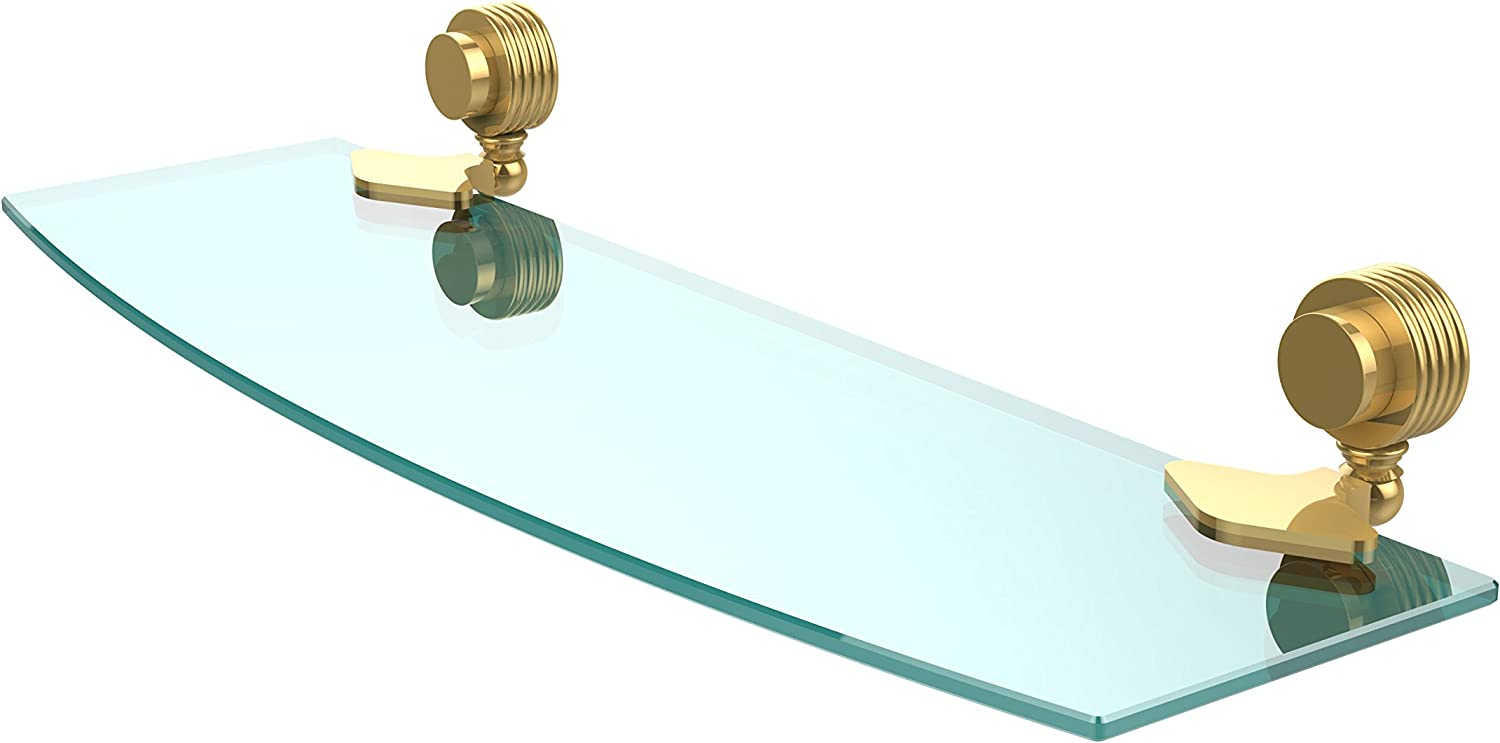 Allied Brass 433G 18-PB Venus Collection Beveled Glass Shelf 18-Inch by 5-Inch, Polished Brass