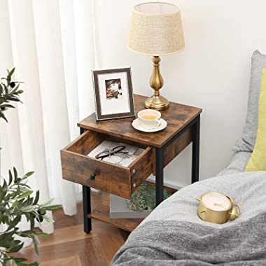 HOOBRO Nightstand, 2-Tier End Table, Industrial Side Table with Drawer and Storage Shelf, Wooden Accent Table with Metal Fram