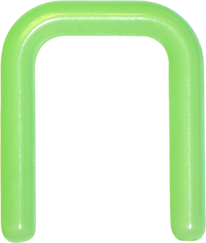 Body Candy Flexible Green Bioplast Square Septum Retainer 14 Gauge 7/16