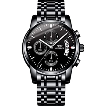 OLMECA Men's Watches Sport Army Fashion Military Wristwatches for Men Waterproof Chronograph Calendar Date Quartz Watches Stainless Steel Band 826GD