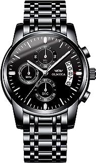 OLMECA Men's Watch Fashion Luxury Wrist Watches Analog Quartz Waterproof Chronograph Watch for Men Stainless Steel Strap Clock 0826-QHYDgd