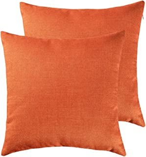 RainRoad Orange Decorative Throw Pillow Cover for Sofa Couch Bedroom Car Cotton Linen Pillow Case Cushion Cover Set of 2,18 x 18Inch 45cm x 45cm (Orange)