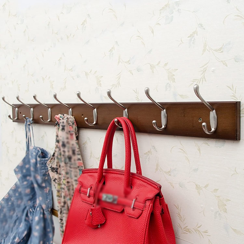 LXLA- Shelf Hangers Coat Rack Hook Up Double Wood Bamboo Wall-mounted Brown (Available 3,4,5,6,7,8Hooks, 35 48 61 74 87 95  7.5  1.5 cm) ( Size   8 hooks )