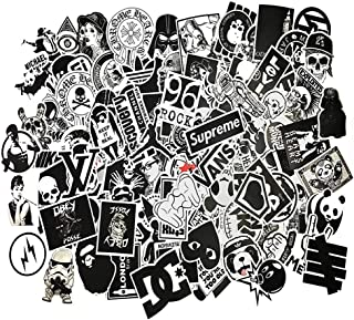 Black-and-White Sticker Vinyls Decals for Laptop,Kids,Cars,Motorcycle,Bicycle,Skateboard Luggage,Bumper Stickers Hippie Decals Bomb Waterproof(No-Repeat/Not Random) (C-100PCS)