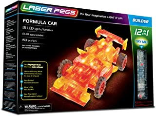 Laser Pegs Formula Car 12-in-1 Building Set Building Kit; The First Lighted Construction Toy to Ignite Your Child's Creativity; It's Your Imagination, Light It Up
