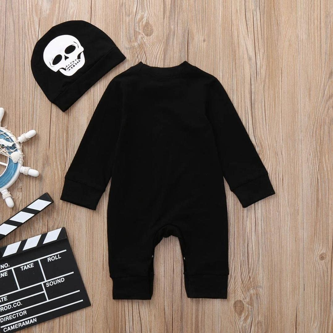 Baby Girls Halloween Costumes Adorable Toddler Bone Print Romper Jumpsuit Hat Set Outfits Clothes