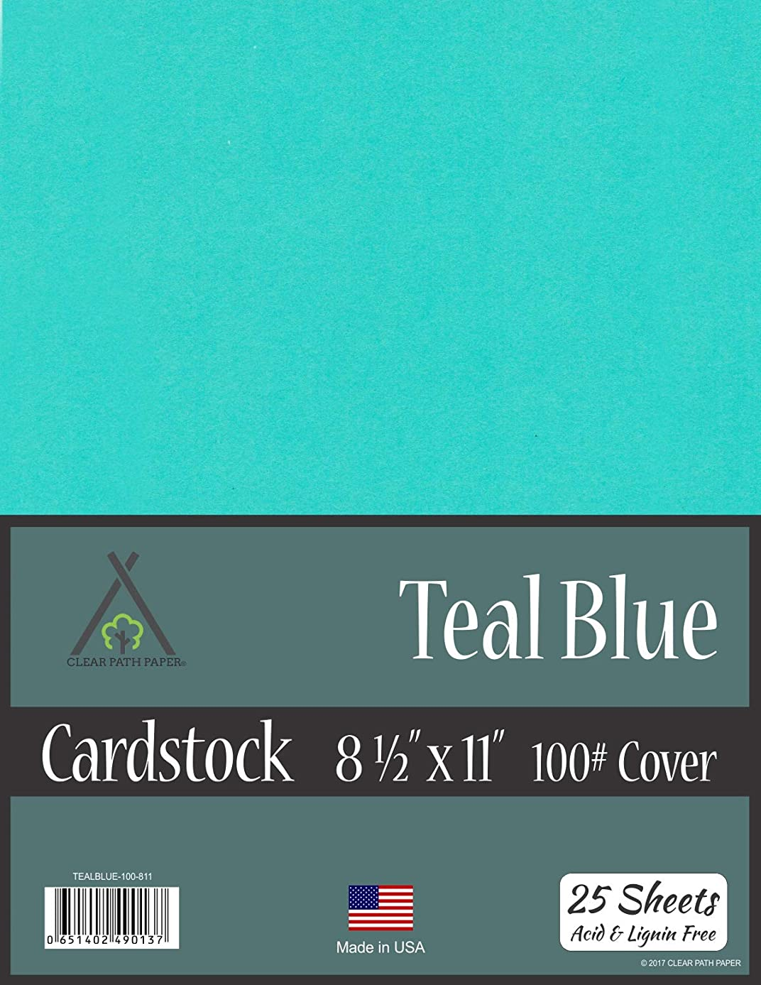 Teal Blue Cardstock - 8.5 x 11 inch - 100Lb Cover - 25 Sheets