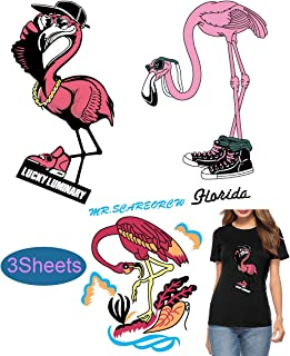 Flamingo Iron on Appliques Iron on Transfers Stickers for Women Girls Cute Decorative Iron on Patches for Clothing T-Shirt Bag DIY Garment Accessories Lovely Patterns Eco-Friendly 3 Sheets