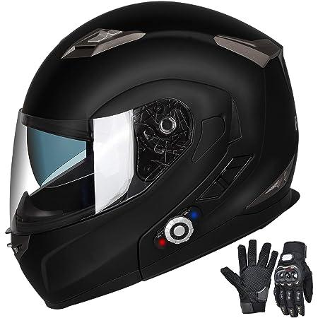 FreedConn Motorcycle Bluetooth Helmets,Bluetooth Integrated Modular Flip up Full Face Motorcycle Helmet,Dual Visor Modular Bluetooth Helmet,Mp3 FM Intercom DOT Approved Helmet (Matte Black,Large)