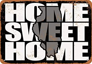 Home Sweet Home Illinois Black Gray Vintage Look Decorative Metal Sign for Road Tin Sign Wall Art Decor Aluminum Street Sign
