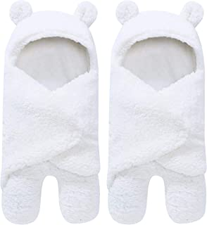 2 Pack Sherpa Baby Swaddle Blanket - Ultra Soft Plush Essential for Infants 0-6 Months | Receiving Swaddling Wrap - Ideal Newborn Registry and Toddler Boy Accessories | Nursery Blankets - White