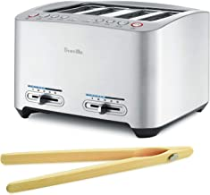 Breville BTA840XL 4-Slice Smart Toaster Bundle with Norpro Bamboo Toaster Tongs - Brushed Die–Cast Aluminum