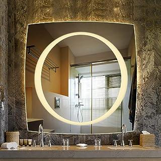 Espejo LED con luz Inodoro sin Marco montado en la Pared Baño luz de tocador con Interruptor táctil Inteligente Luz Blan...