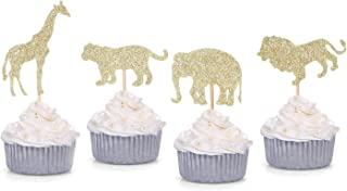 24 Counts Gold Glitter Jungle Safari Animal Cupcake Toppers Elephant Giraffe Lion Tiger for Baby Shower Birthday Party Decorations