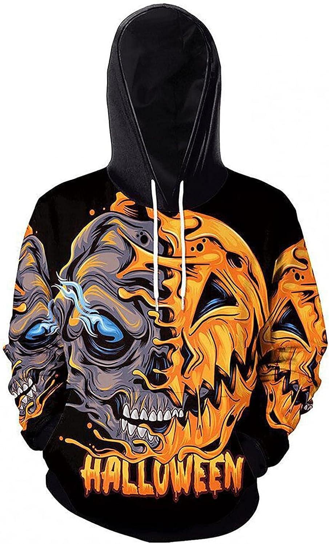 Men's Novelty Sweatshirts Hoodie Halloween 3D Pumpkin Funny Graphic Print Casual Slim Fit Pullover Long Sleeve Hooded