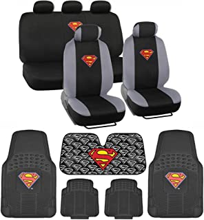 BDK C1604 Superman Seat Cover & Carpet Floor Mats & Sun Shade for Car SUV Van Truck-16 Piece Full Interior Protection Auto Accessory Gift Set