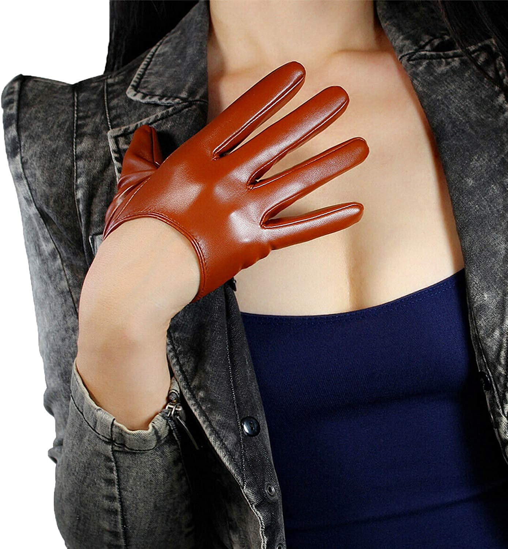 DooWay WOMEN LEATHER GLOVES Brown Faux Lambskin Leather PU Halloween Evening Dress Party Finger Gloves