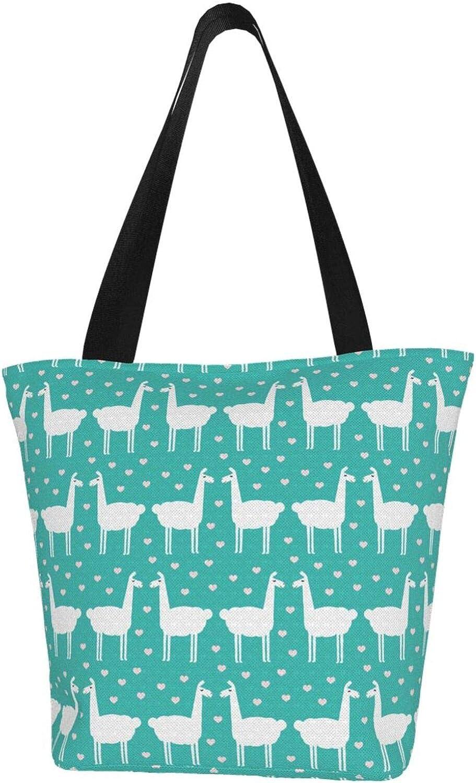 Little Green Love Kiss Llama Themed Printed Women Canvas Handbag Zipper Shoulder Bag Work Booksbag Tote Purse Leisure Hobo Bag For Shopping
