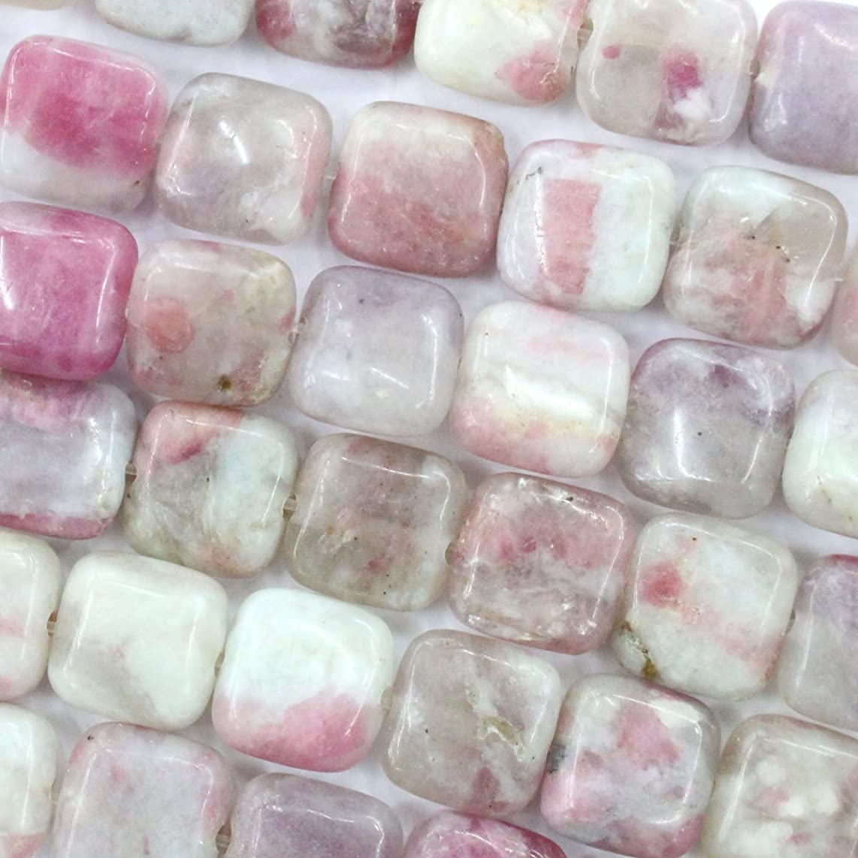 Fashiontrenda Natural Pink Tourmaline square 8mm Gemstone Beads for DIY Jewelry Making