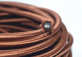 Coffee Brown 18/3 10 ft 3-wire Flat Cloth Covered Wire Antique Lamp Cord Cloth Electrical Cord 3 Core Round Cord, 18ga. Vtg Lamp Wire Antique