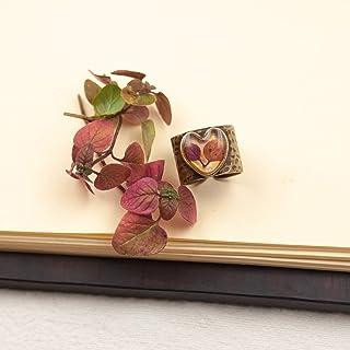 Anello a fascia regolabile a cuore in resina e foglie di origano - anello natura - gioielli fatti a mano - gioielli fiori ...