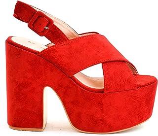 93eed4a4 Zapatos con cuña tacón Ancho y Plataforma Alta con Tira Ancha Cruzadas Ante  Antelina