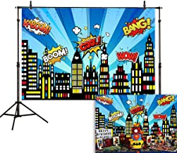 Allenjoy 7x5ft Superhero Cityscape Theme Backdrop American Comics Style Buildings Scenes Photography Background Birthday Baby Shower Party Supplies Cake Table Decor Banner Photo Booth Studio Prop