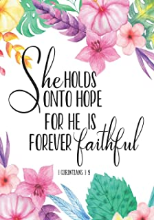She Holds Onto Hope For He Is Forever Faithful 1 Corinthians 1:9: Bible Verse Notebook, Composition Book Journal For Women and Girls, Christian Journal, 7