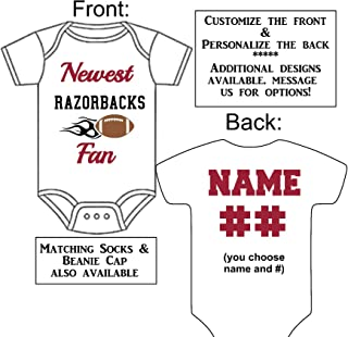 Personalized Custom Made Newest Razorbacks Fan Football Gerber Onesie Jersey - Baby Announcement Reveal or Shower Gift