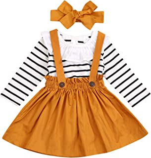Toddler Girls Outfits 3pcs Baby T-Shirt Clothes Set Girl Floral Jumpsuit+Strap Skirt Outfits