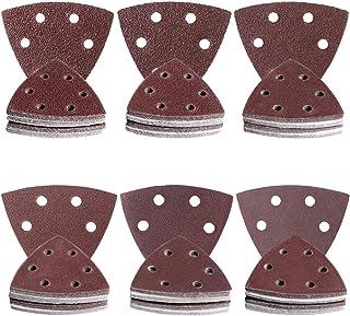 YSSNH Sandpaper Detail Sander Paper Triangular Adhesive Sanding Discs Multitool Mouse Sander Sandpaper 120 PCS 93mm 6 Hole Hook and Loop Sander Pads 40 60 80 120 180 240 Grit