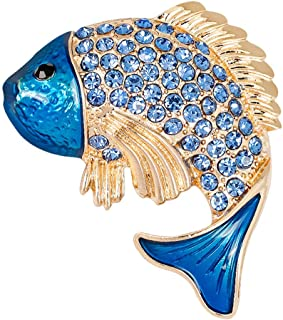 Charming Yellow Blue Fish Rhinestone Crystal Brooch Pin Animal Brooch Pin | Color - Blue