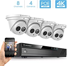 Amcrest 4K Security Camera System w/ 4K 8CH PoE NVR, (4) x 4K (8-Megapixel) IP67 Weatherproof Metal Turret Dome POE IP Cameras (3840x2160), 2.8mm Wide Angle Lens, NV4108E-IP8M-T2499EW4 (White)