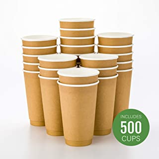 500-CT Disposable Kraft 16-oz Hot Beverage Cups with Double Wall Design: No Need for Sleeves - Perfect for Cafes - Eco Friendly Recyclable Paper - Insulated - Wholesale Takeout Coffee Cup