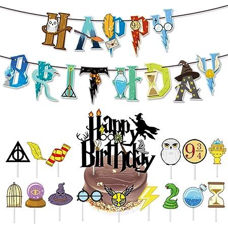 ZSWQ 17 PCS Harry Potter Party Festa Torta Decorazione Set di Accessori per Feste di Compleanno di Mago Scuola Guidata Ispirato Buon Compleanno Banner Mago di Decorazioni per Feste a Tema