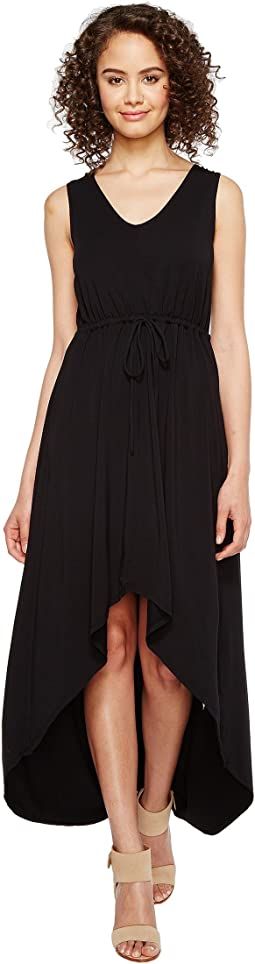 Cotton Modal Spandex Jersey Cinch Waist Hi-Low Hem Tank Dress